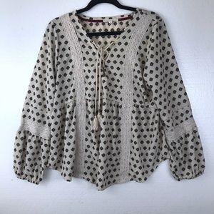 Hint Of Mint Size XL Boho Tassel Lace Top Blouse